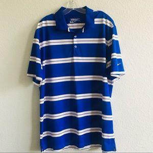 Nike Blue White Golf Performance Shirt